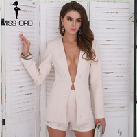 Missord 2017 Sexy Long Sleeve Button Two Pcs Solid Color Elegant Sets FT8550