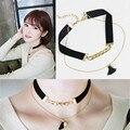 Joyería de la cuerda de las mujeres de cuello de verano choker collar de clavícula cadena de oro collares de moda borla negro collar colgante para las mujeres