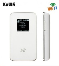 KuWfi разблокирована 4G Беспроводной маршрутизатор карман LTE Wi Fi модем 4100 mAh Мощность Bank Открытый Дорожный маршрутизатор с Сим слот для карт