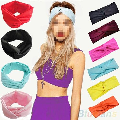 Hot Women s Elastic Turban Twisted Hair Band Head Sweatband Headband 5PXV