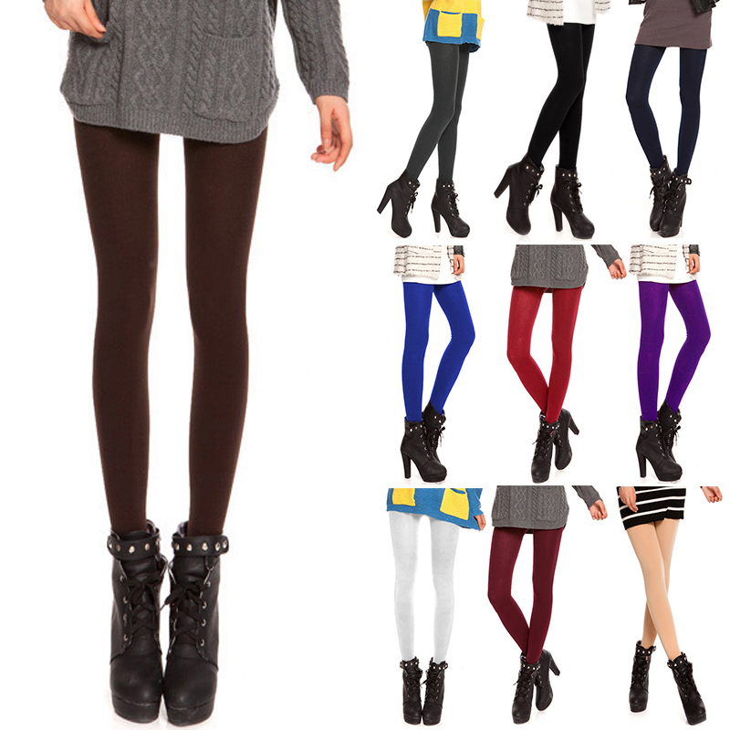 10 Colors Sexy Women Tights 120D Anti-Hook Wire Velvet Pantyhose Warm Thin Opaque Footed Stocking Fashion Female Collant Hosiery ...