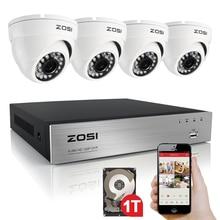 ZOSI HD AHD-H 4CH 720 P 1.0MP Камеры Безопасности Системы 4*720 P Открытый Ночного Видения ВИДЕОНАБЛЮДЕНИЯ Главная Безопасность система 1 ТБ HDD