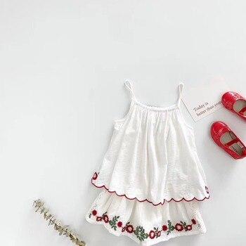 цветочный детский ползунки   Детские комбинезоны для девочек; лето 2019; хлопковый комбинезон с цветочной вышивкой; одежда для малышей; летняя одежда