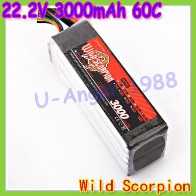 ФОТО HK Free shipping wild scorpion 100% Brand Li-PO RC 22.2V 3000mAh 60C Li-polymer Battery RC Trex 500 helicopter