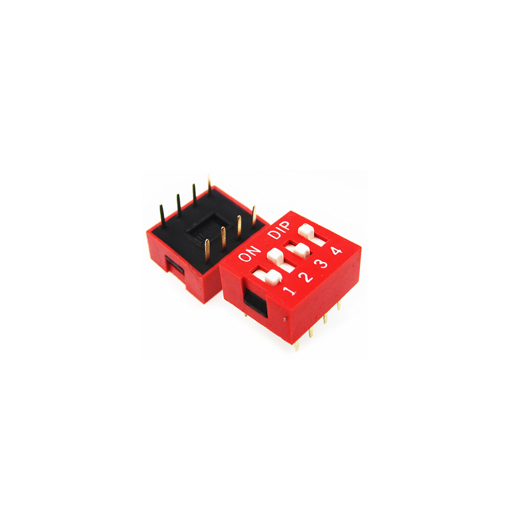 HAILANGNIAO 100pcs 4P 4 Position DIP Switch 2.54mm Pitch 2 Row 8 Pin DIP Switch