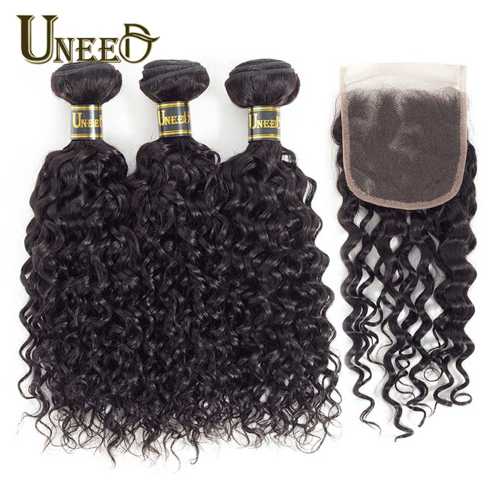 Uneed Hair 3Bundles Peruvian Water Wave With Closure Free Middle Part 100 Human Hair Bundles With