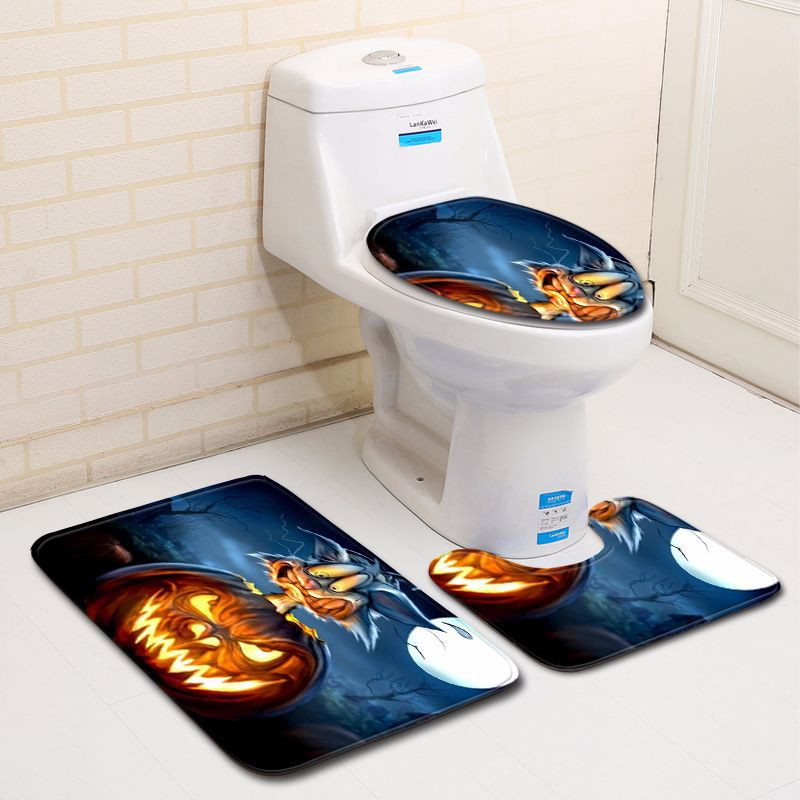 Halloween Pumpkin Lantern Toilet Seat Cover And Rug