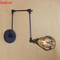 Black Loft Wall Lamp Sconce Retro Iron Indoor Wall lights Adjustable blacklight Luminaria Industrial for Bedroom Hallway