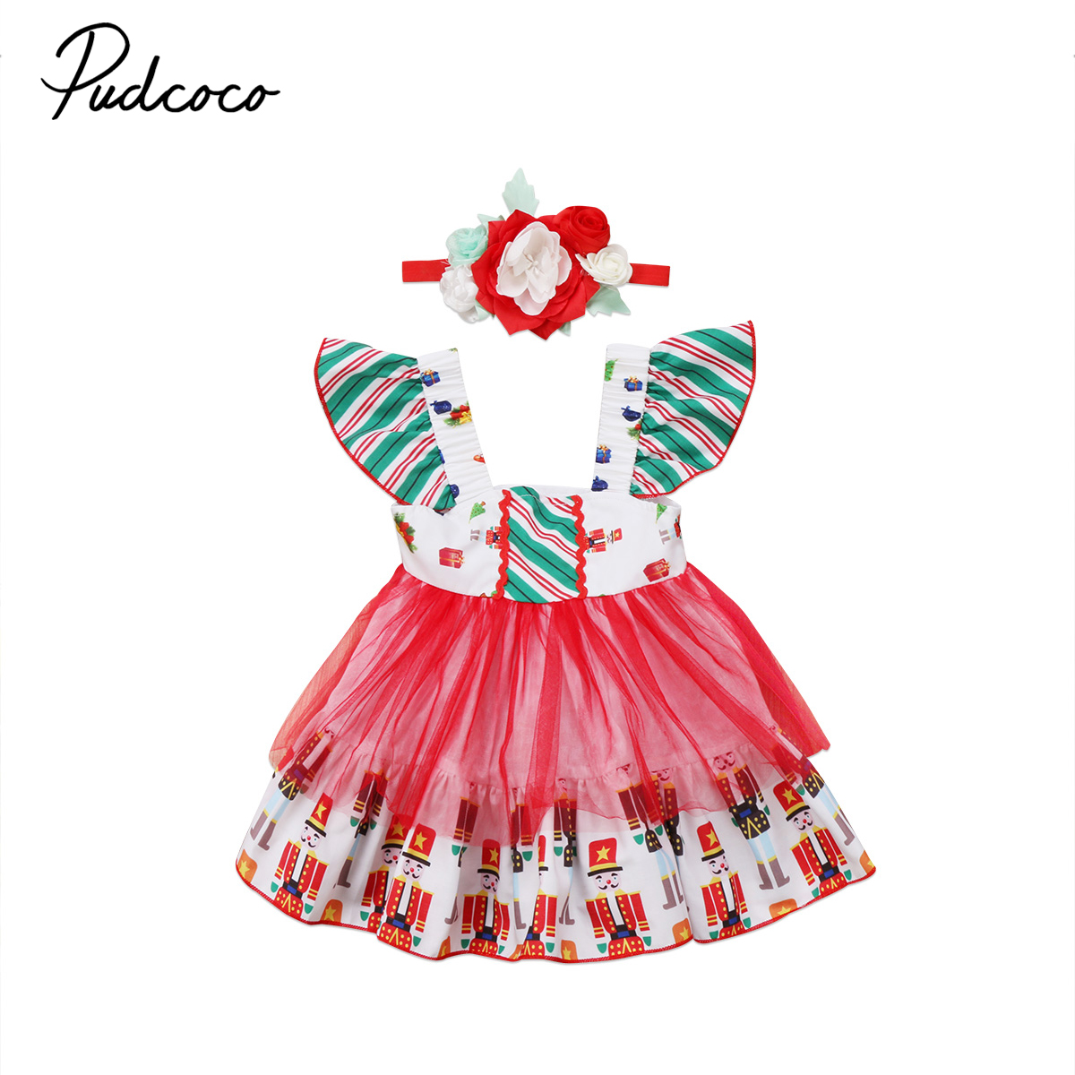 Kids Baby Girl Christmas Dress Wedding Pageant Party Princess Tulle ...
