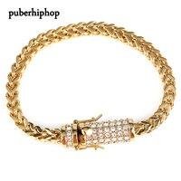 2017 New Mens 6mm Hip Hop Iced Out Bracelet Solid Gold Finish Miami Cuban Link Bracelet