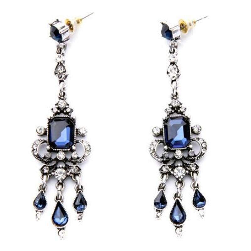 Hot Sale Trendy Zinc Alloy earrings Spike Earings New Fashion Luxury Elegant Ocean Rhinestone Stud Earrings for women