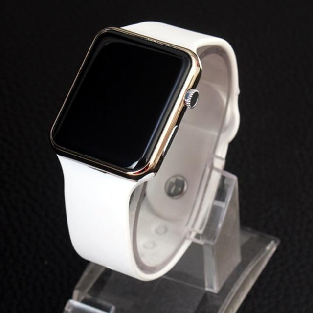 46c43b833bc0 Reloj Digital hombre pantalla LED blanco silicona Correa alarma deportes  mujeres relojes de pulsera para hombres