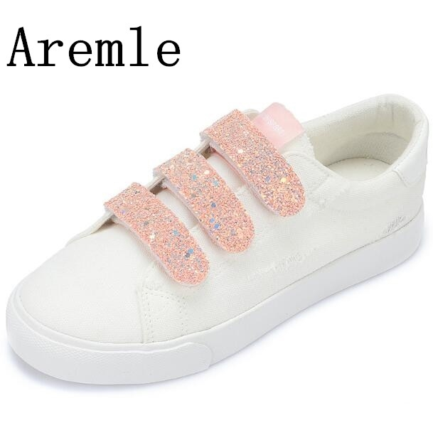 2018 New Arrival Hook&loop Women Shoes Breathable White Shoes Fashion Vulcanize Crystal Shoes Sewing Sneakers Women Size 35-40
