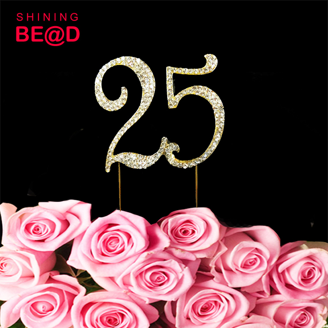 25 Cake Topper For 25th Birthday Or Anniversary Crystal Rhinestone Party Decoration Supplies 10