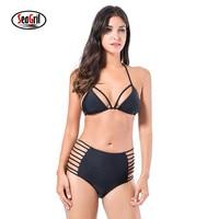 Sea Girl Black High Waist Swimsuit Sexy Halter String Strappy Bikini Swimwear Women Bandage Bathing Suit