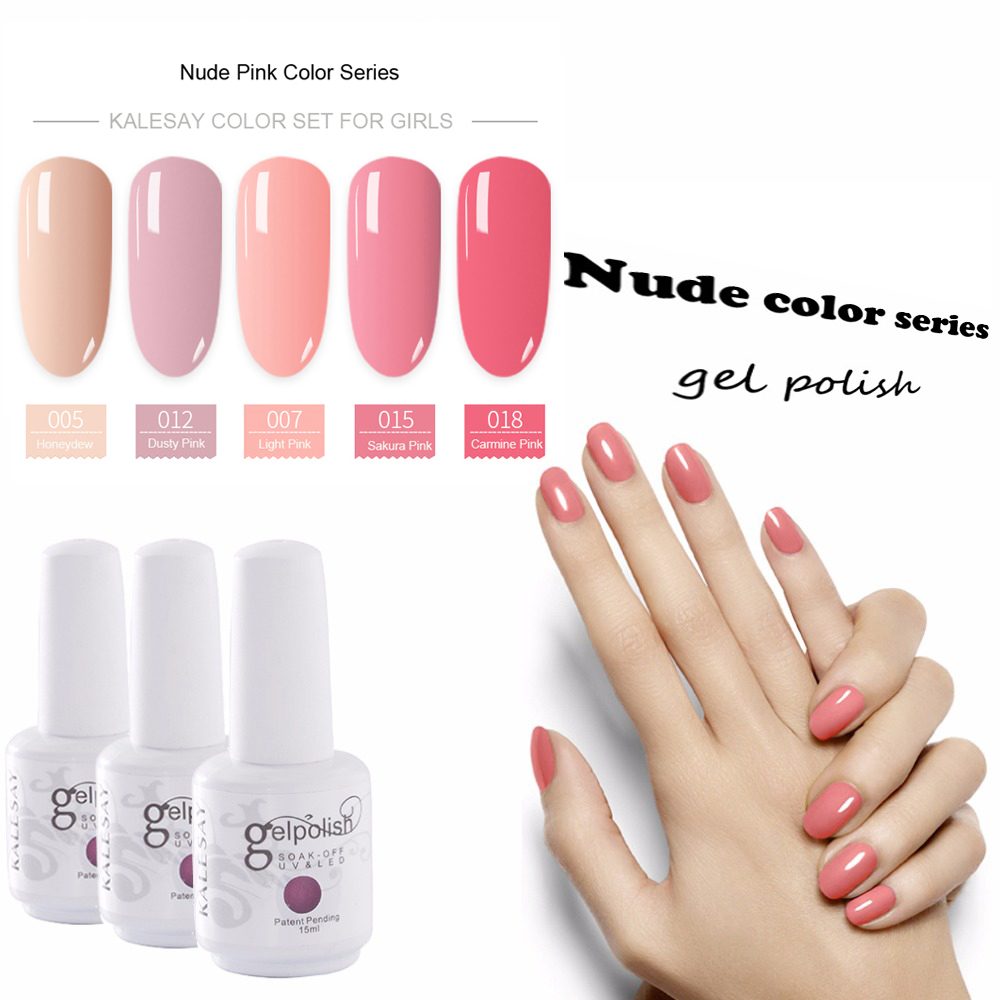 MEIKSAY 15ML Nude Series Gel Polish UV Gel Nail Polish Semi Permanent Pink  Gelpolish GelLak Lacquer Top Base Coat Primer Varnish