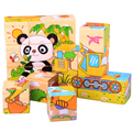 Children Wood Wooden Cartoon Animal Puzzle Toys 6 Sides Wisdom Jigsaw Early Education Toys Parent-Child Game