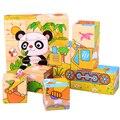 Crianças de Madeira Enigma De Madeira Animal Dos Desenhos Animados Brinquedos 6 Sides Sabedoria Jigsaw Educação Pai-Filho Brinquedos Jogo