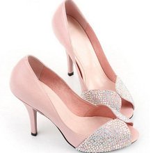 Pink diamond Peep Toe Bridal shoes women Formal Dress shoes party Prom dress shoes Rhinestone Sparkling 8.5cm High Heel Shoes