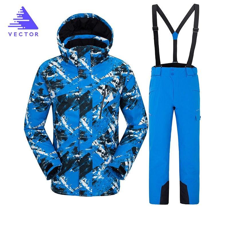 VECTEUR Ski Costume 2018 Imperméable Coupe-Vent Chaud de Neige Vêtements Veste + Pantalon Mâle Montagne Ski Veste Snowboard Costumes Marques