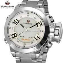 Новые часы FSG8093Q4S1 МУЖСКИЕ ЧАСЫ LED Дисплей белый циферблат серебристый корпус кварцевые аналого-цифровой оптовая часы подарочная коробка