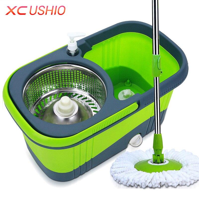 Domestico portatile In Acciaio Inox Spinning Mop Bucket Mano Premere 360 Gradi Spin Mop Magico di Rotazione Mop Secchio di Pulizia