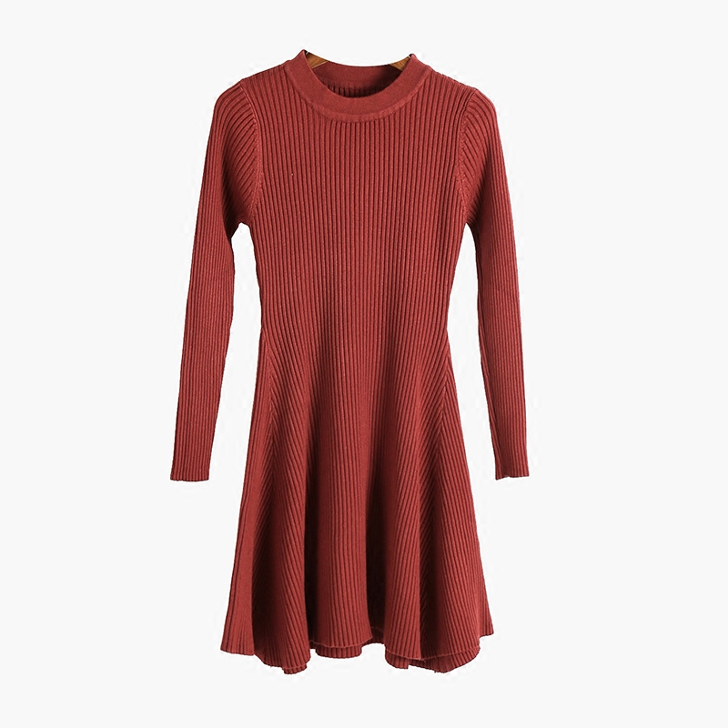 New Style Women Fashion Sweet Brief Knitted Long Sleeve Dress Female 2017 Korean A-line Slim Pure Color Dresses Woman vestidos polished korean style split joint pure color sheath dress
