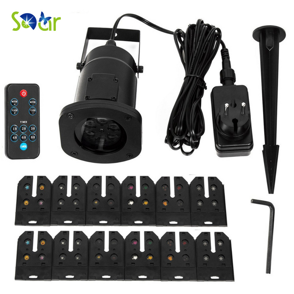 Landscape Lights Projector LED Spotlights Waterproof With 12pcs Switchable Pattern Lens For Christmas Holiday Home Wall Motion