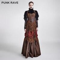 Punk Rave Punk Rave màu nâu của phụ nữ steampunk full length không tay evening corset ăn mặc THƯƠNG HIỆU CHẤT LƯỢNG Q295