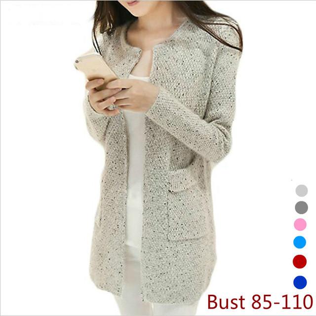 El nuevo otoño y el invierno 2016 de las mujeres suéter cardigan largo flojo suéter caliente patrón de estrella de calidad Cardigan Gratis Publica