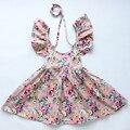 Nuevo estilo de vestido de la muchacha vestido de bebé Recién Nacido, flor de la vendimia sleevess muchachas del algodón vestido de verano hermosos vestidos