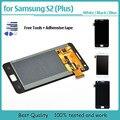 Para samsung galaxy s2 gt-i9100 i9100/s2 mais i9105 display lcd touch screen com substituição digitador assembléia + fita + ferramentas