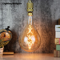 PS52 big large size A160 edison bulb led 6W light amber retro saving lamp vintage filament Edison ampul light chandelier 220V