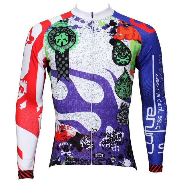 Free Shipping Cartoon Athletics Men Long Sleeve Cycling Jersey Breathable Personas Bicycle Clothing Polyester Cycling Apparel