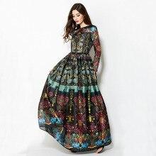2016 Women's Spring Antumn Fashion Vintage Long Dress Exquisite Retro Printed Ancient Roman Style Elegant Runway Dresses