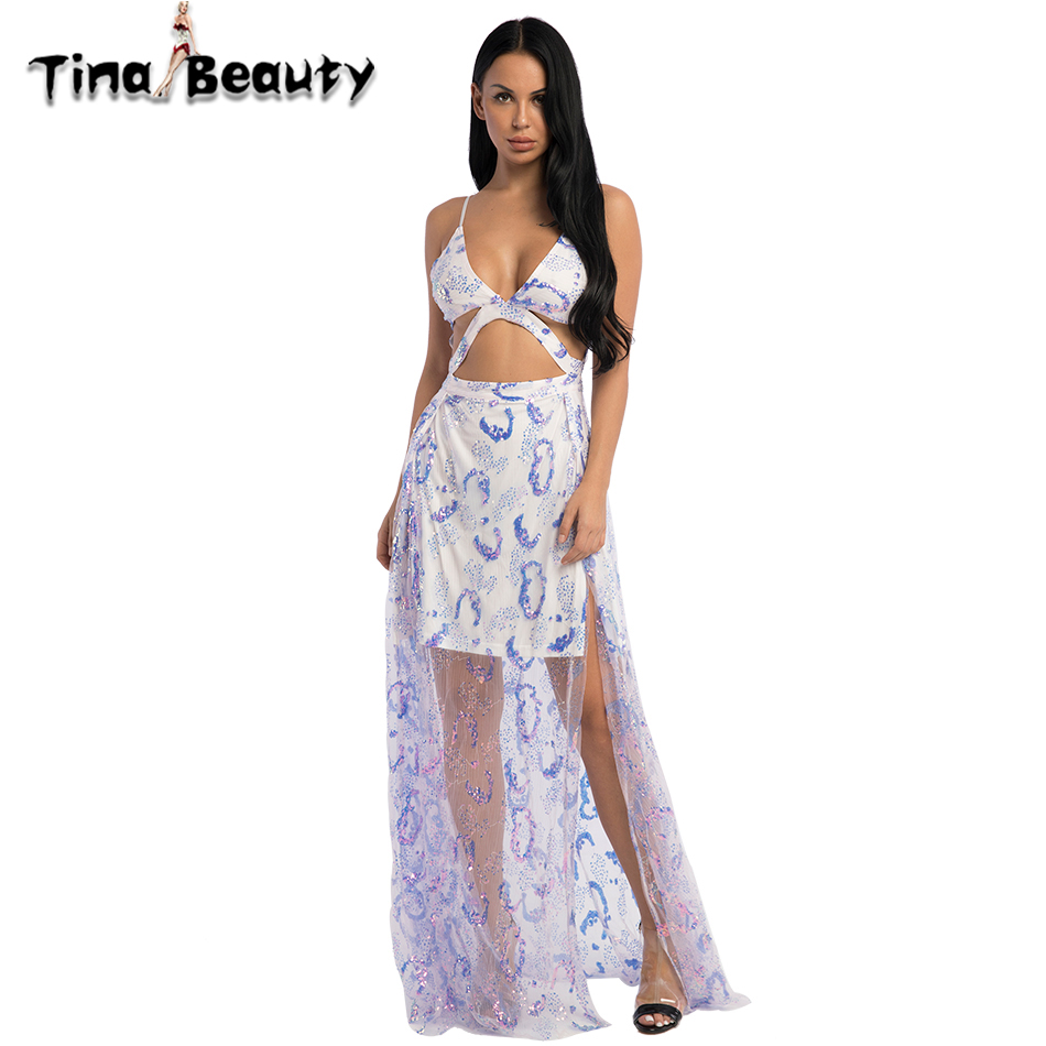 Tina beauté Sexy rose bleu robe mi-longue femmes d'été maille paillettes col en V bretelles Cocktail longues robes pour dames fête de bal