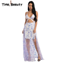 Tina Beauty Sexy Pink Blue Midi Dress Women Summer Mesh Sequins V Neck Straps Cocktail Long Dresses For Ladies Party Prom Wear