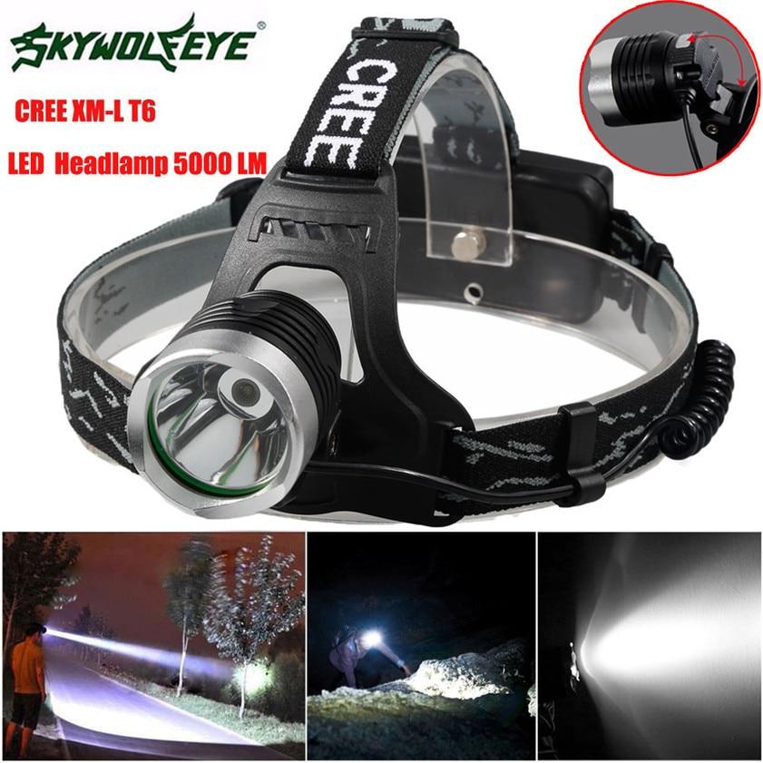High Quality 5000 Lm CREE XM L XML T6 LED Headlamp Headlight flashlight head light lamp