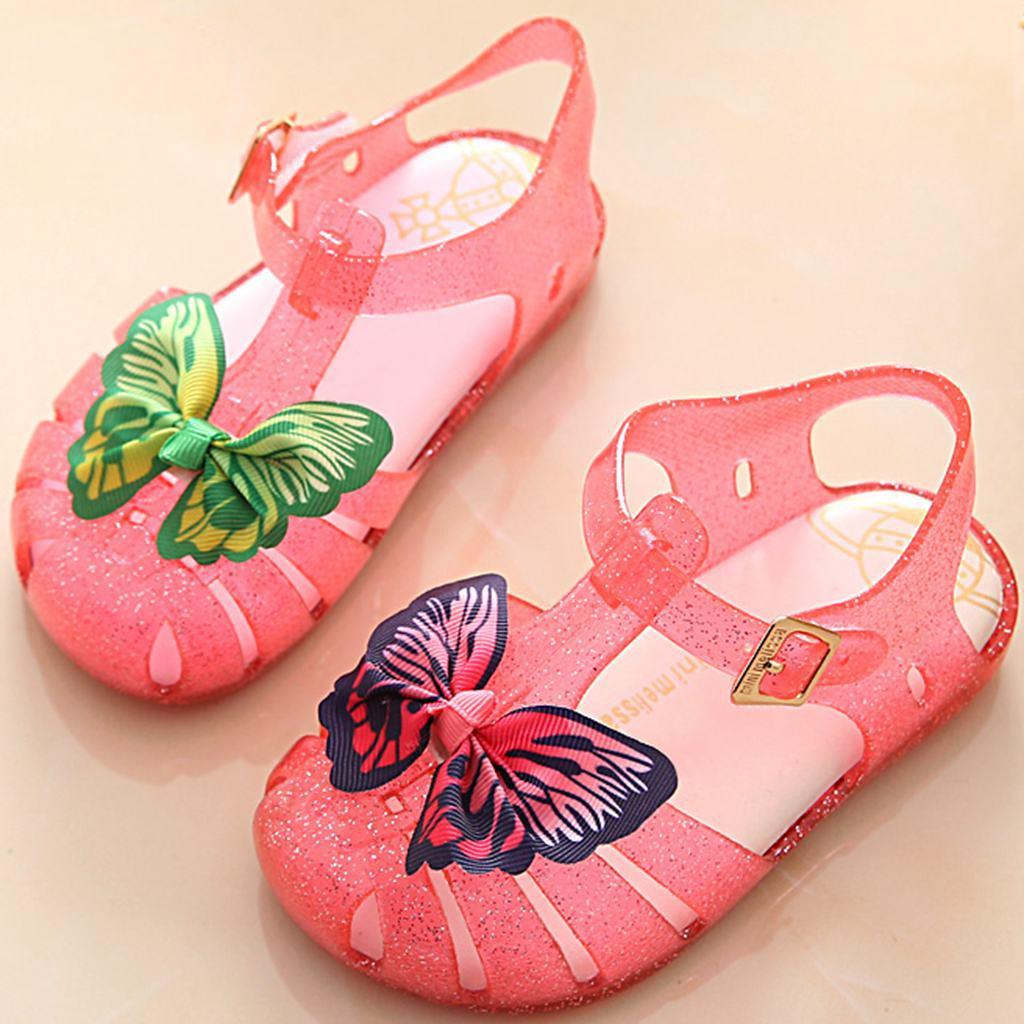2018 New Summer Mini Melissa Twins Cloth Bow Butterfly Print Girls Sandals Kids Mini Mary Jane Flat Shoes Hook Loop US8-US13