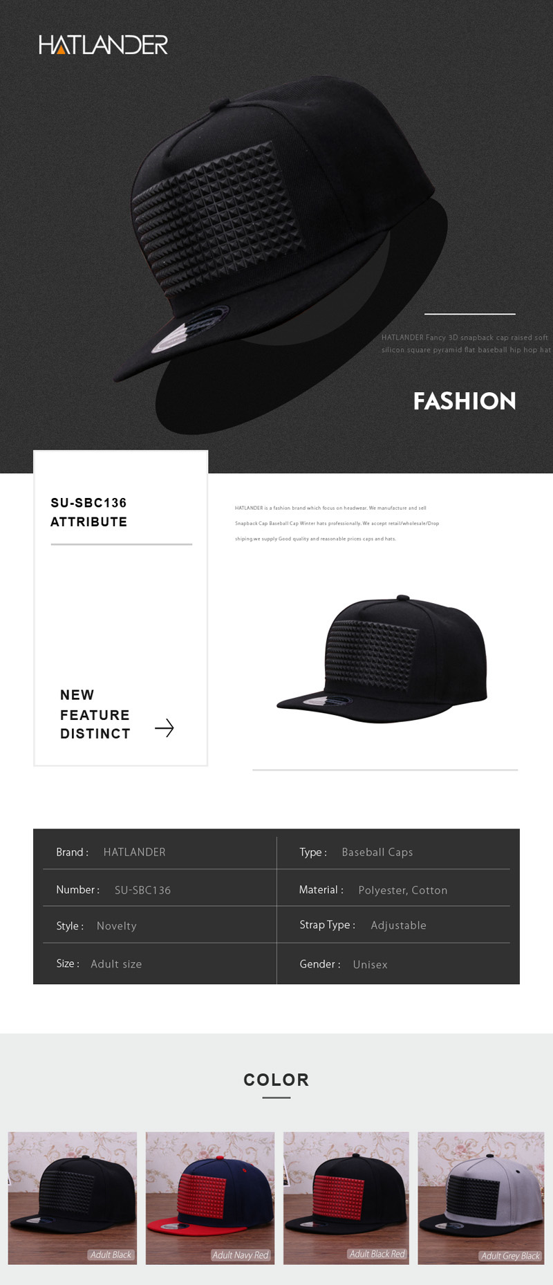 3D snapback cap raised soft silicon square pyramid flat baseball hip ... c4de46a660c5