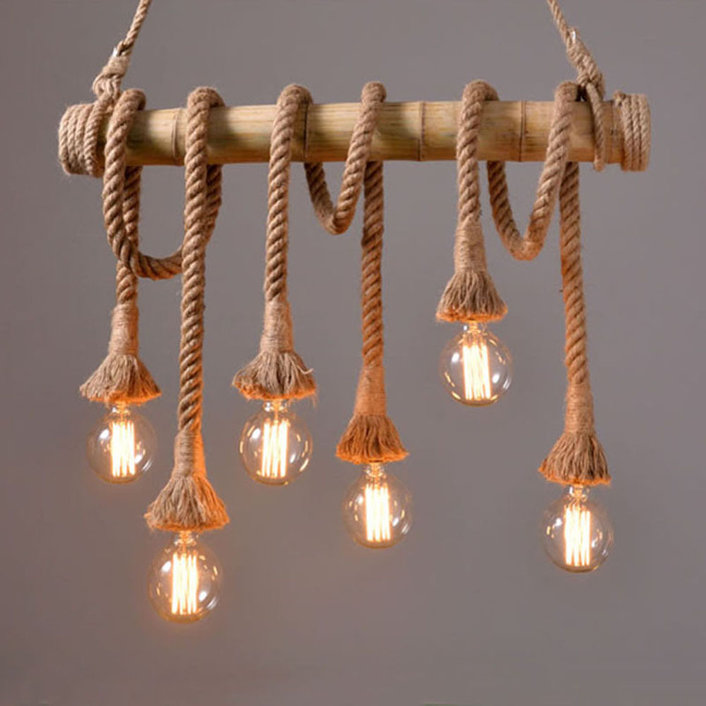 1PCS Vintage Rope Pendant Light Lamp Loft Creative Personality Industrial Retro Lamp Edison Bulb American Style For Living Room