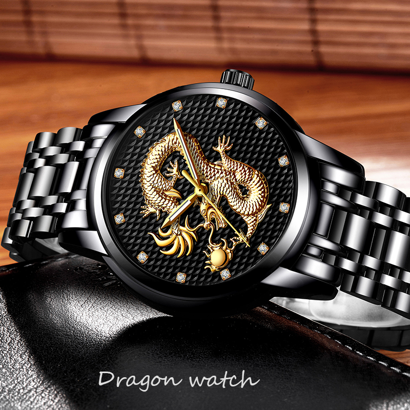 LIGE Mens Watches Top Brand Luxury Quartz Watch Men Casual Waterproof Gold Dragon Full Steel Sport Wrist Watch Relogio Masculino