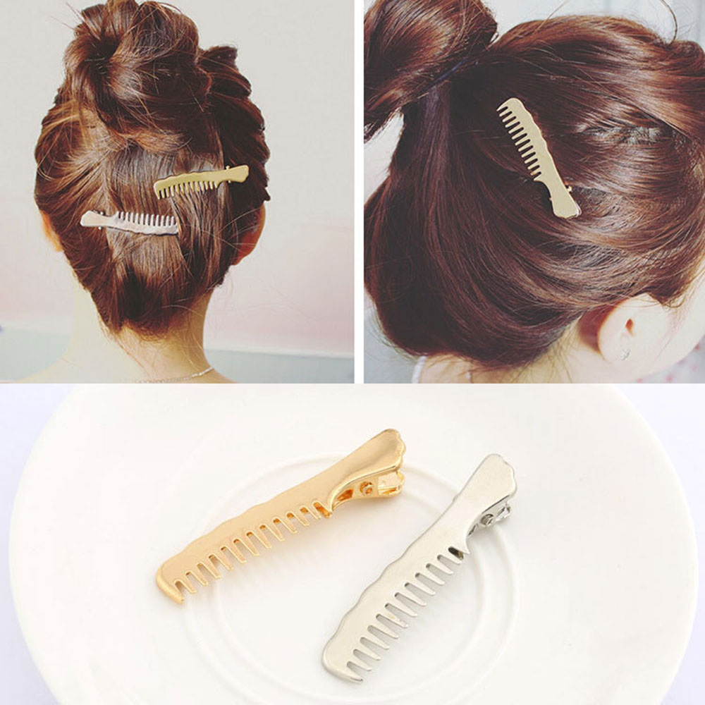 1pcs Punk Smooth Comb Shape Mental Hairpins Gold Silvery Hair Clips For Girls Hair Accessories For Women Barrettes Bobby Pins