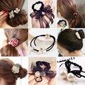 Mulheres da moda coreano meninas elásticos de cabelo elásticos ties headwear acessórios para mulheres scrunchie corda anel ornamentos atacado