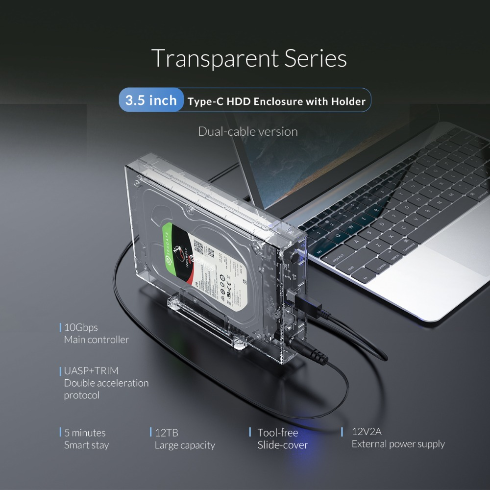 ORICO 2.5 3.5inch  HDD Enclosure Type C 10Gbps Hard Drive SSD External Case UASP