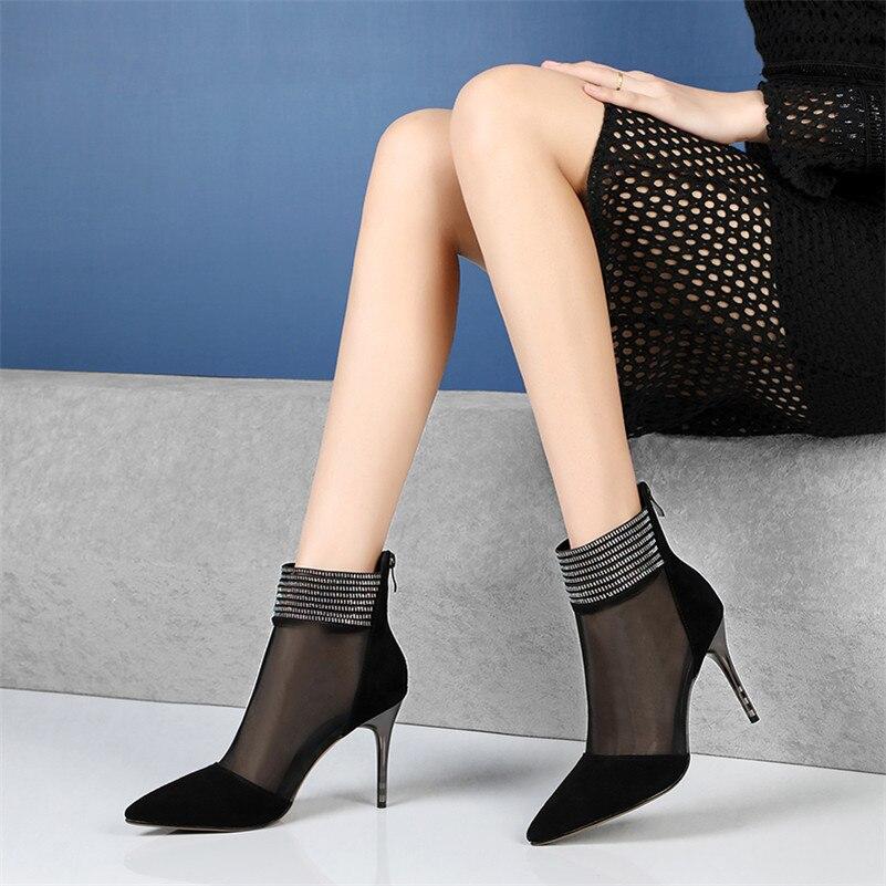 De Del Alto Dedo Oveja Sexy Moda Club Tacón Malla Verano Zapatos Mujer Piel Puntiagudo Conasco Botas 1 negro Nueva Noche Tobillo Pie PaF4qqfw