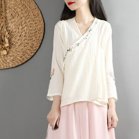 2019 summer blend linen chinese traditional top qipao shirt for woman cheongsam style shirt chinese blouse for