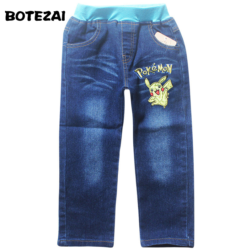 POKEMON GO Kids Children Jeans Pants Boys Clothing Embroidered Jeans Shorts Gift