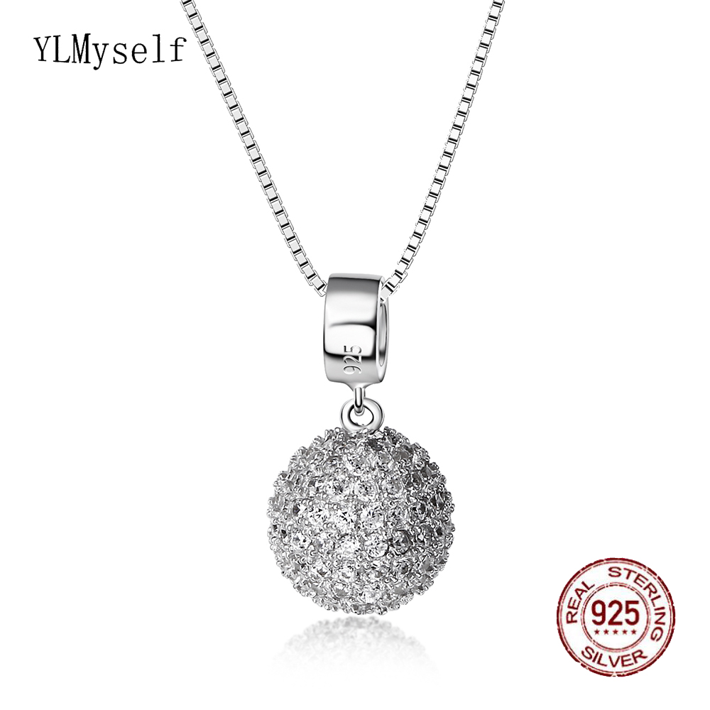 Real 925 Sterling Silver Pendant Ball design Necklace Wonderful Jewelry Zircon Silver Choker Suspension Jewellery Birthday gift