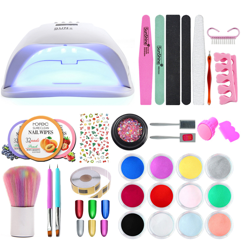 Full Manicure Set With Nail Lamp 12 Color Nail Glitter Gel Polish Acrylic Nail Kit Base &Top Coat Gel Varnish Manicure Tools Set